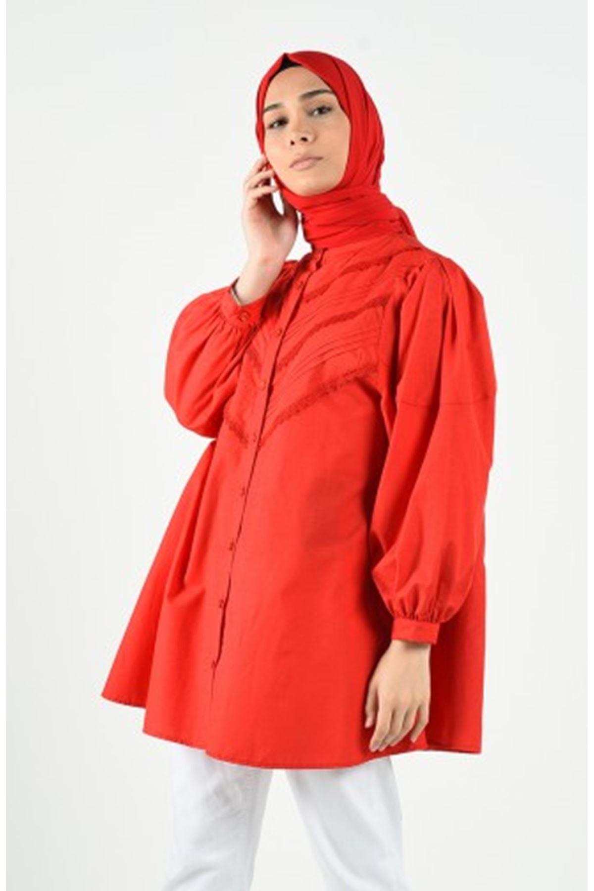 Dantel Detaylı Tunik Gömlek - Kırmızı