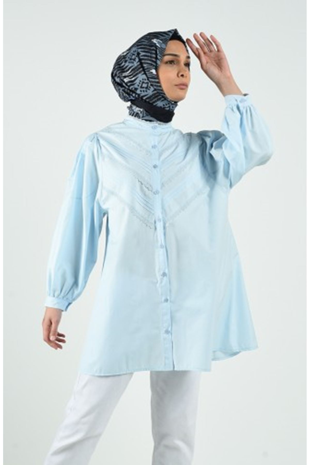 Dantel Detaylı Tunik Gömlek - Buz Mavi