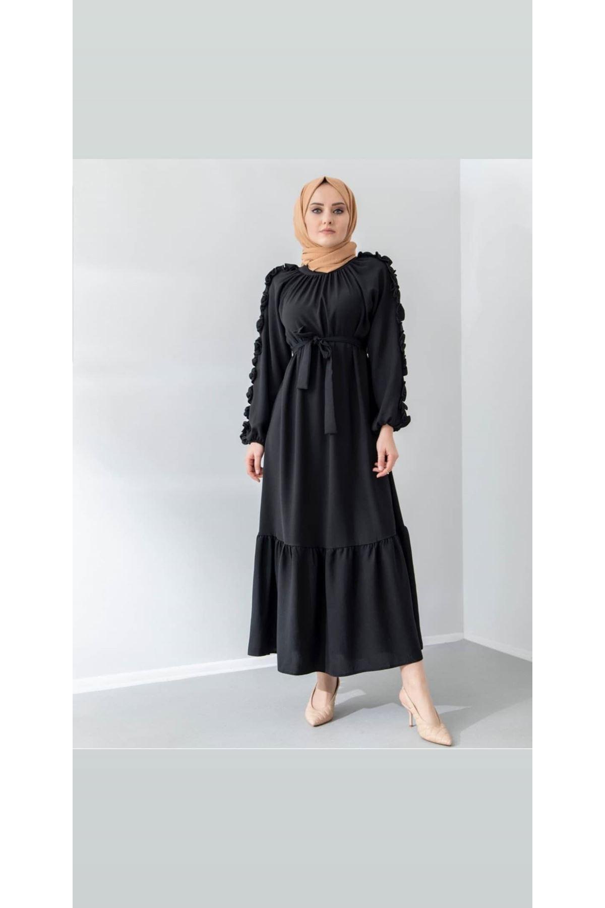 Kolları Fırfırlı Elbise - Siyah