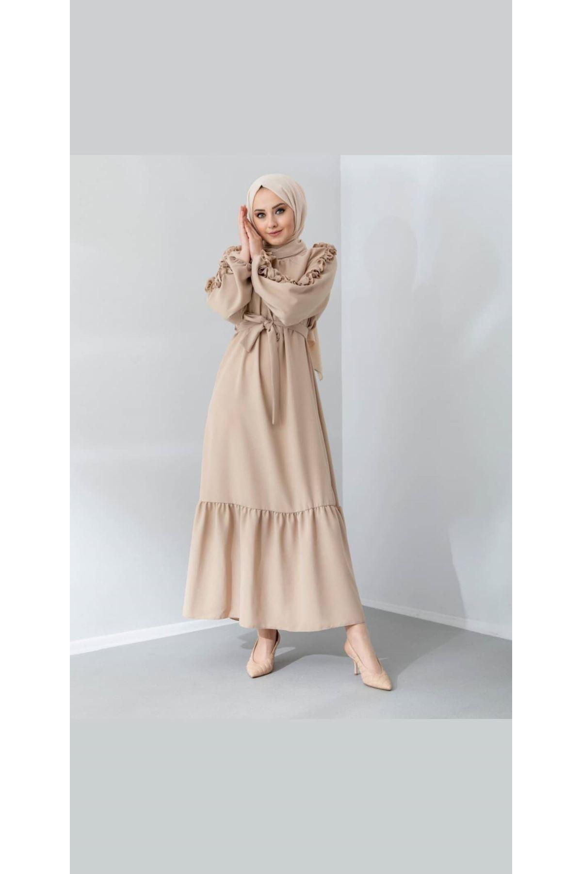 Kolları Fırfırlı Elbise - Taş