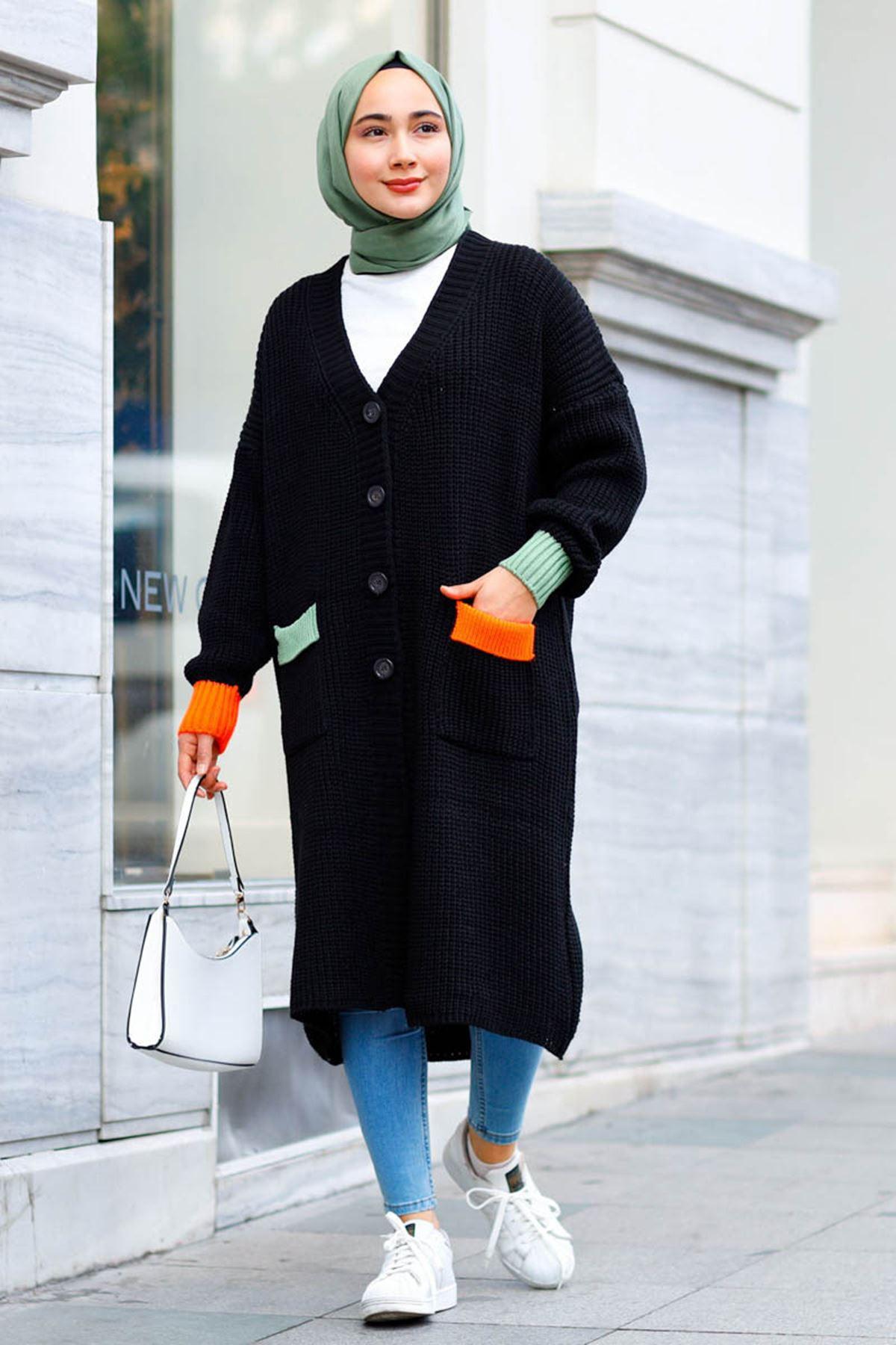 Renkli Cepli Uzun Triko Hırka - Siyah