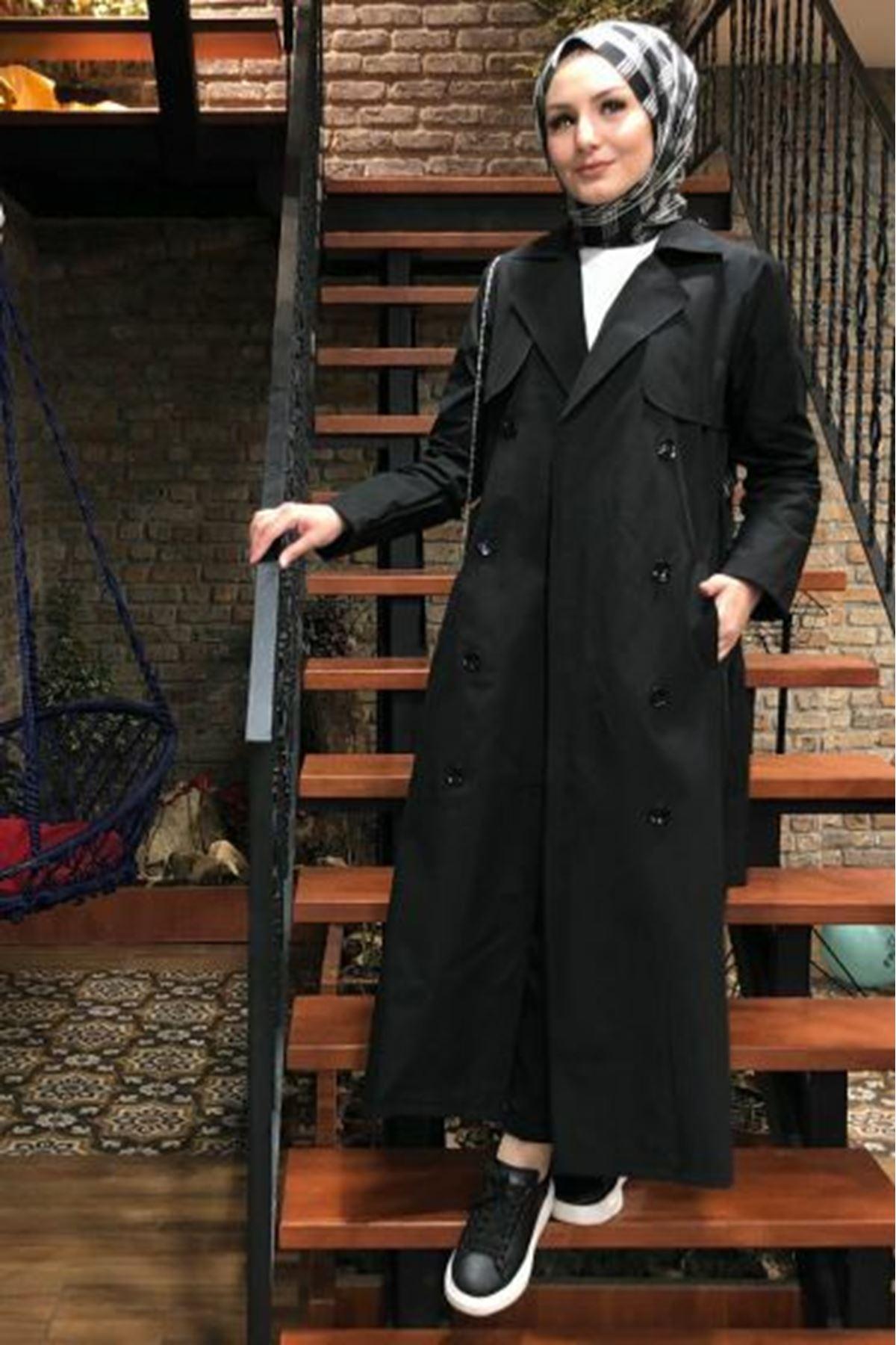 Şal Yaka Trençkot - Siyah